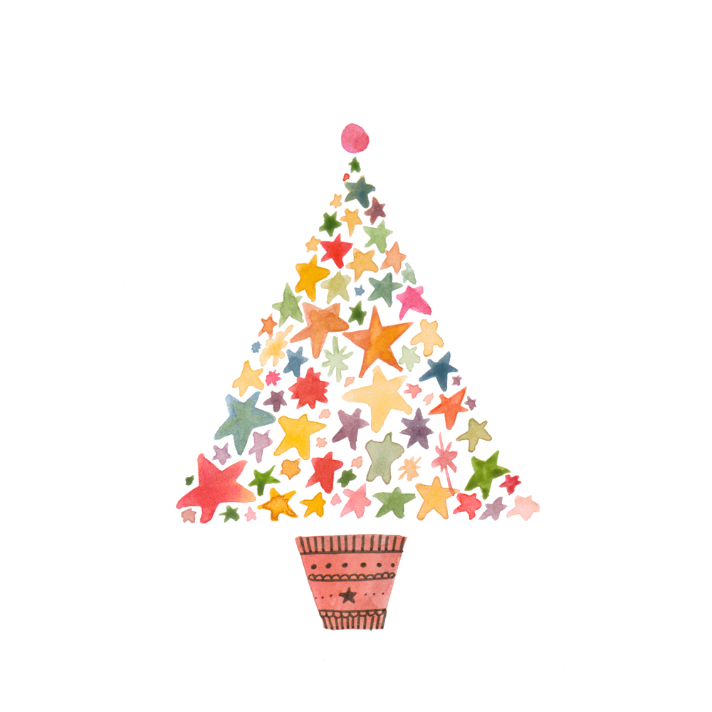 Modern xmas trees - Greeting Cards Christmas Cards Felicity French Illustration